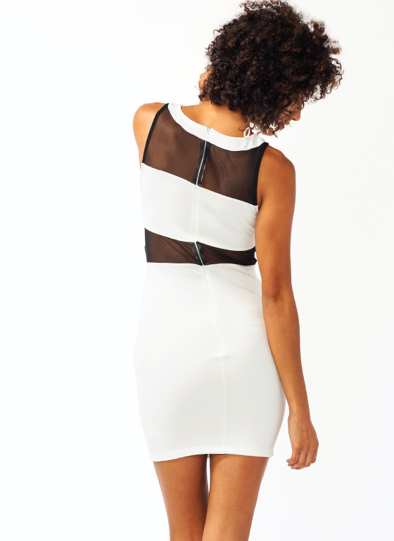 Fresh To Mesh Body Con Dress WHITE