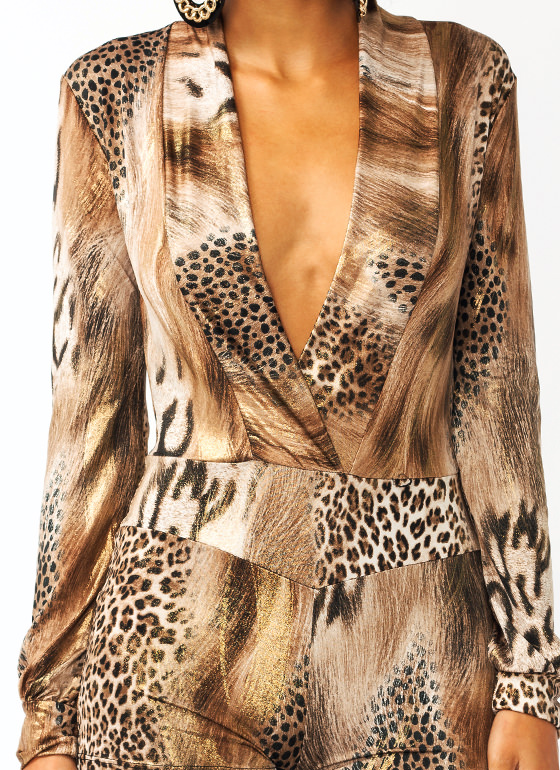Time To Shine Leopard Romper BROWN
