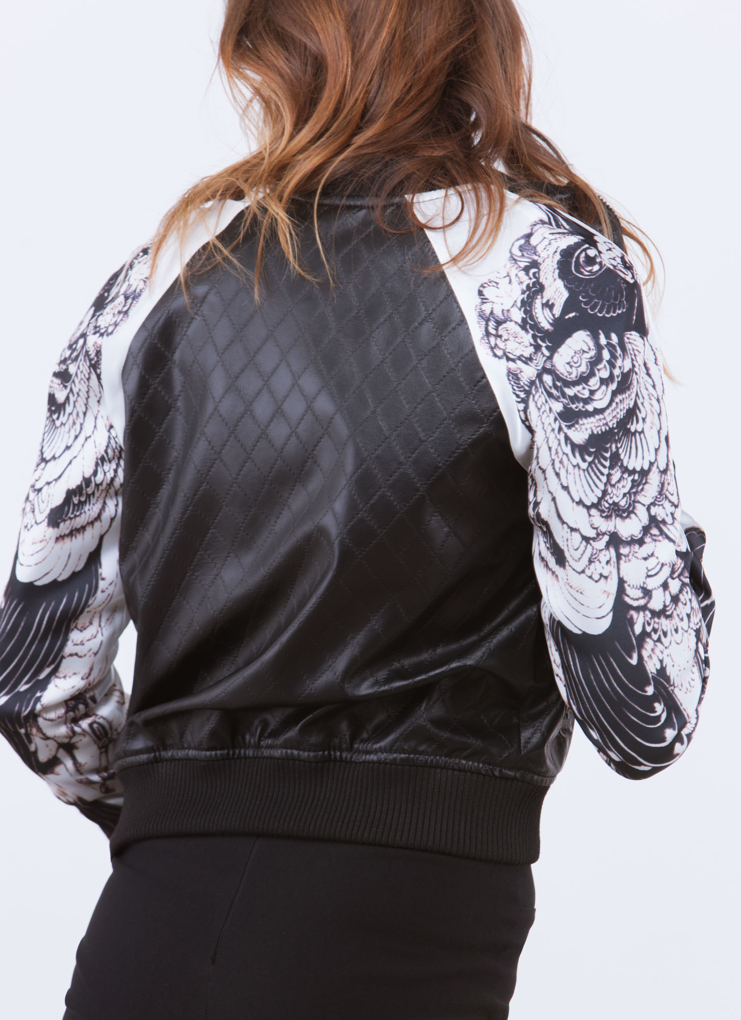 Early Bird Quilted Bomber Jacket BLACK