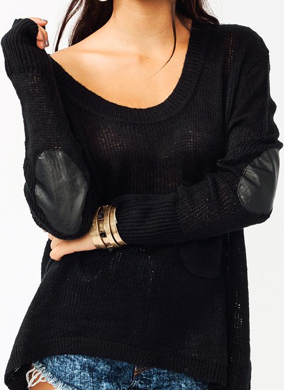 Open Weave Pocket Sweater BLACK