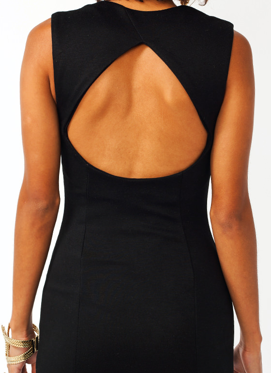 Faux Leather Contrast Bodycon Dress BLACK