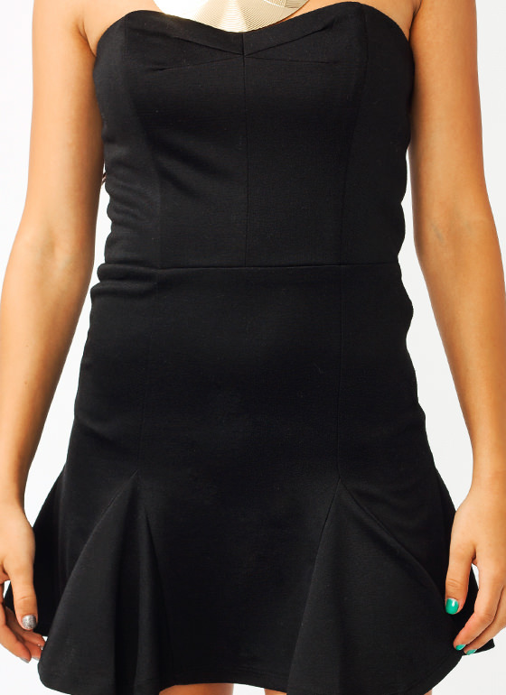 Strapless Flounce Dress BLACK (Final Sale)