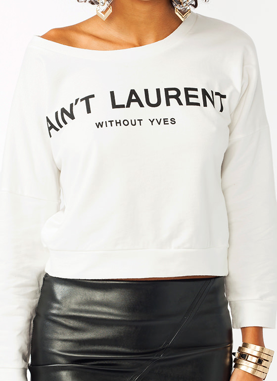 Without Yves Cropped Sweatshirt WHITEBLACK