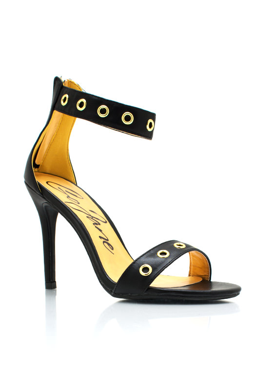 Hole In One Strappy Heels BLACK