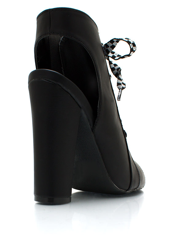 Cut And Dry Lace Up Booties BLACK