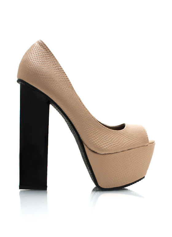 Funky Chunky Textured Pumps TAUPE
