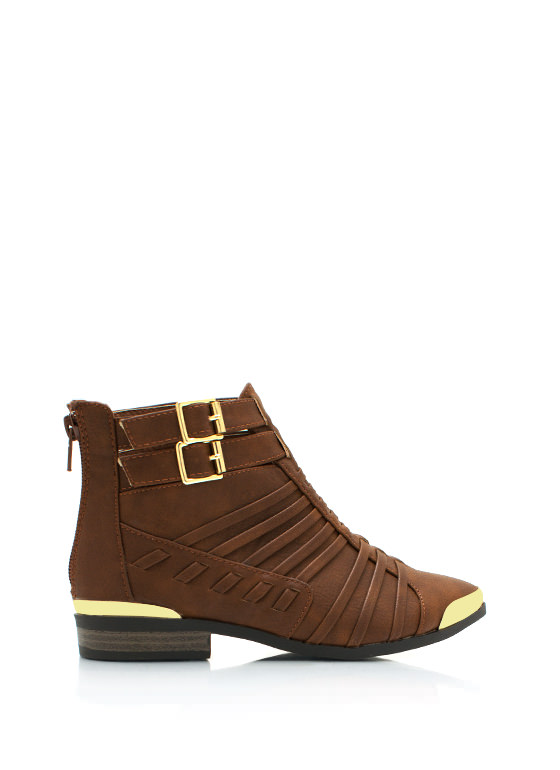 Its A Strap Ankle Boots COGNAC