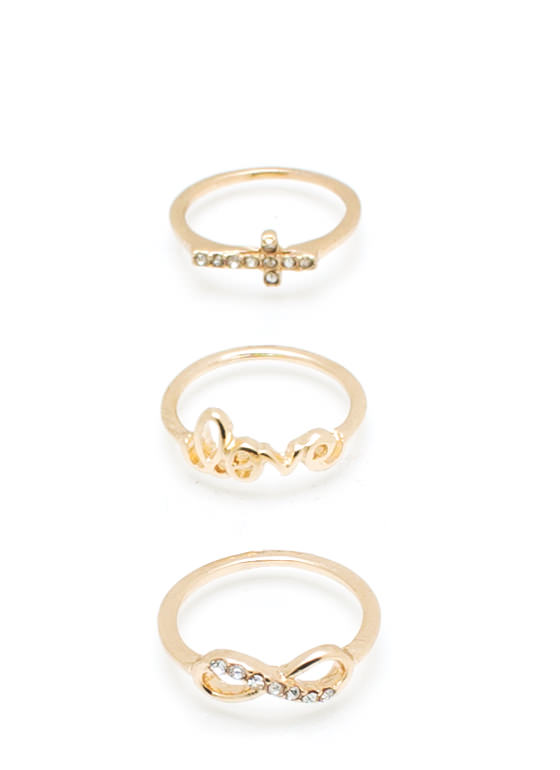 Infinity Love Cross Ring Set GOLD