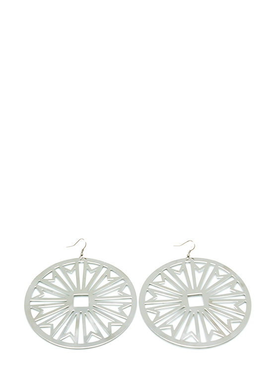 Cut Me Out Circle Earrings SILVER
