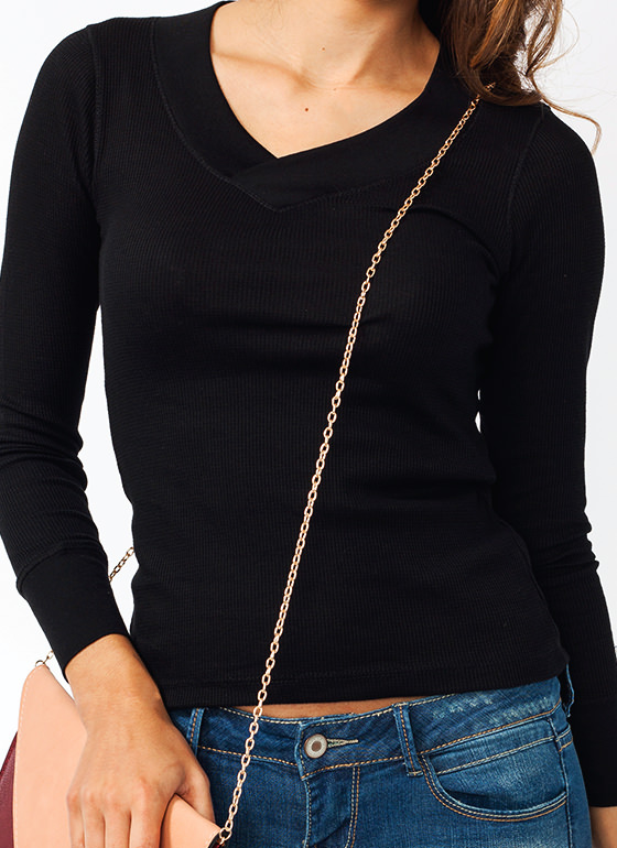 V Neck Thermal Tee BLACK