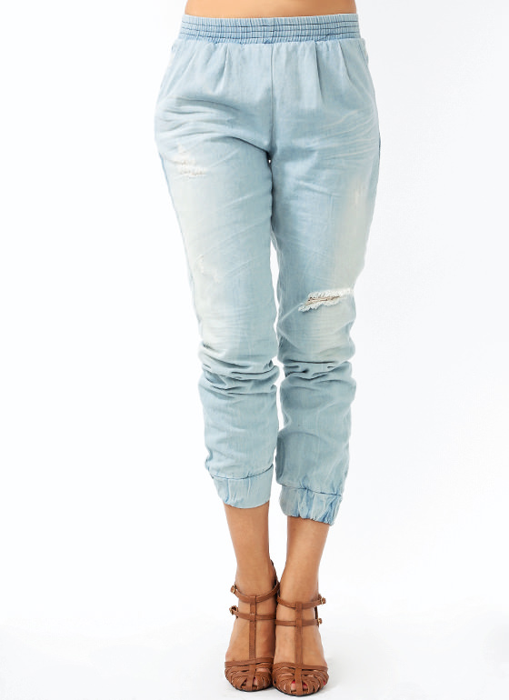 Distressed Denim Sweatpants LTBLUE
