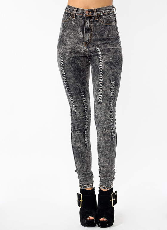 Shredded Pom Pom Jeans BLACK