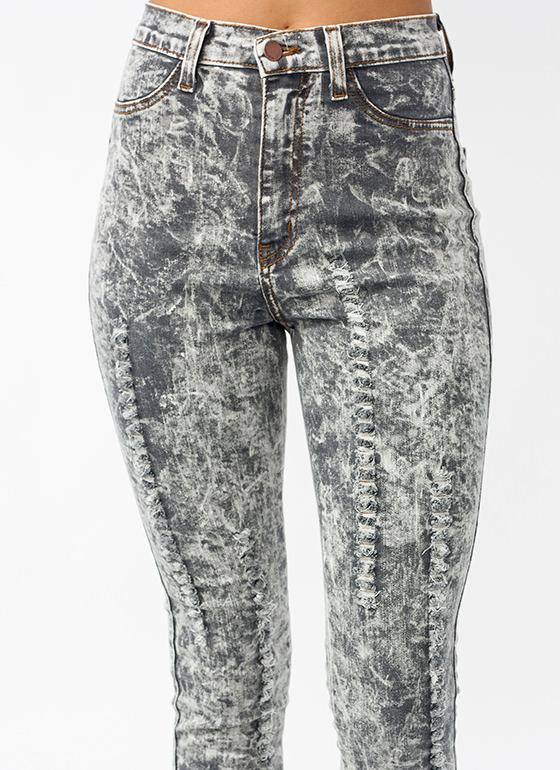 Shredded Pom Pom Jeans GREY