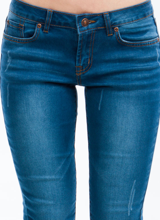 Mildly Distressed Skinny Jeans BLUE