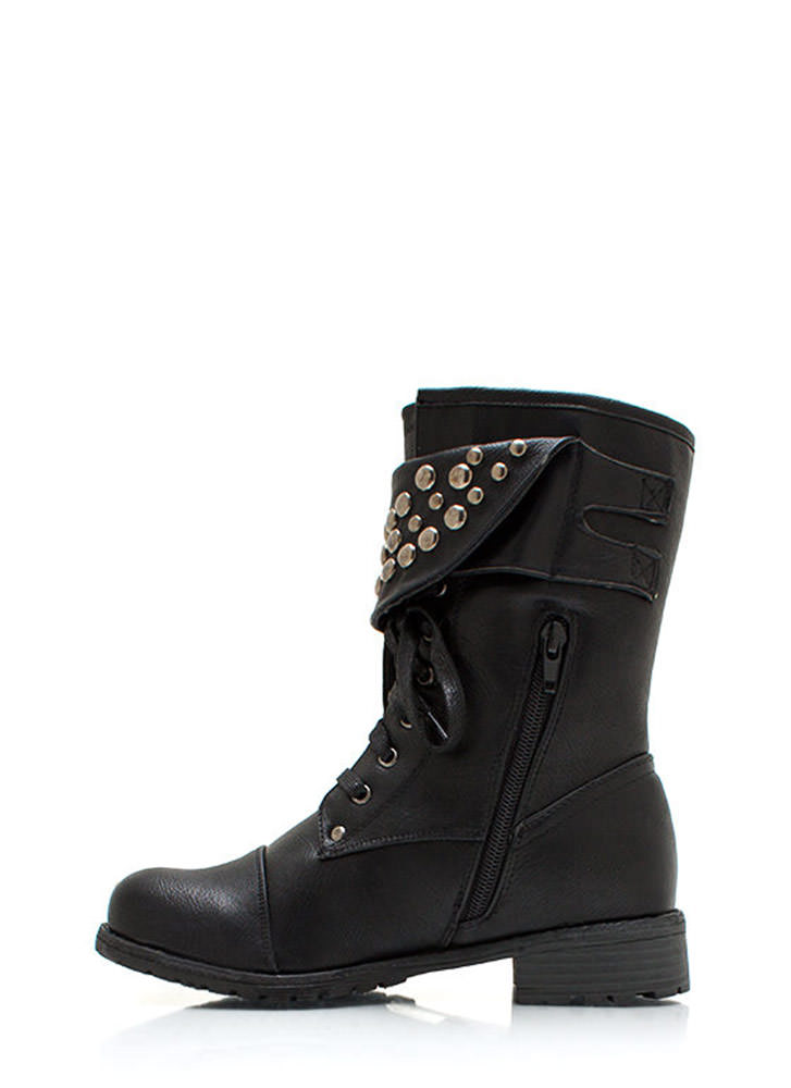 Dome Studded Burnished Combat Boots BLACK