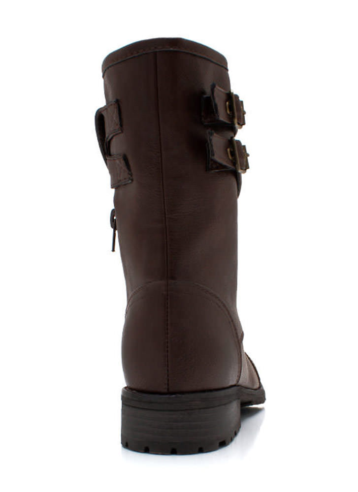 Dome Studded Burnished Combat Boots BROWN