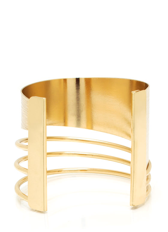 Cut It Out Textured Cuff GOLD