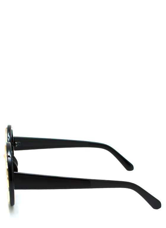 Metal In Round Sunglasses BLACKGOLD