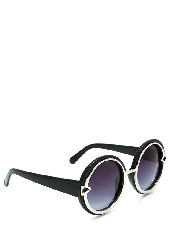 Metal In Round Sunglasses BLACKSILVER