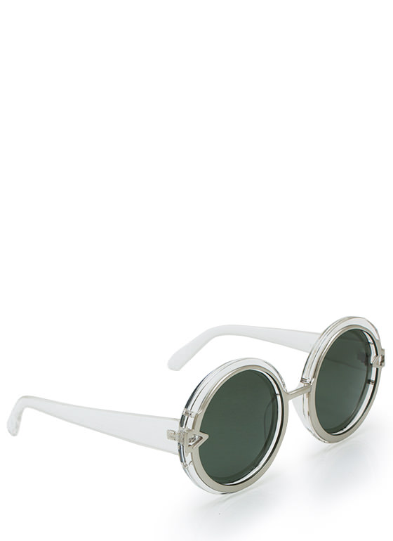Metal In Round Sunglasses CLEARSILVER