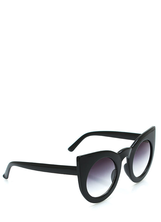 Round Kitty Cat Sunglasses BLACK
