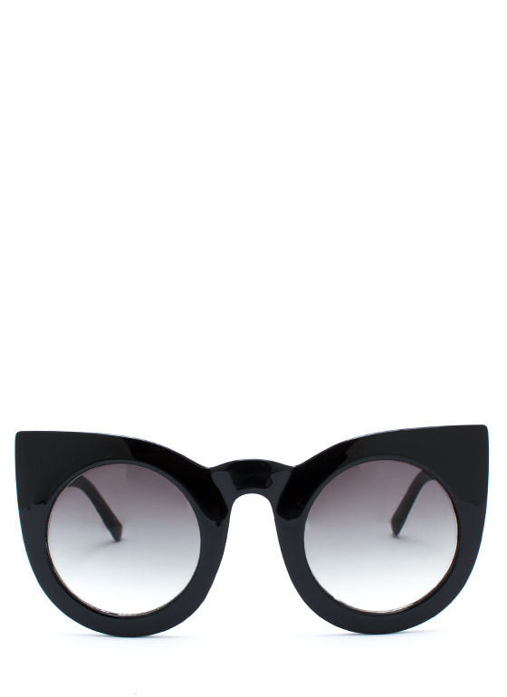 Round Kitty Cat Sunglasses BLACKGREEN