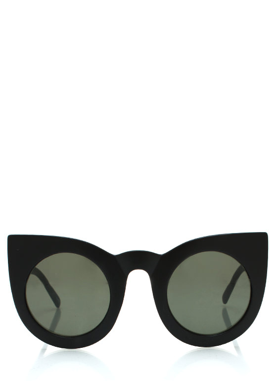 Round Kitty Cat Sunglasses MBLACKGREEN