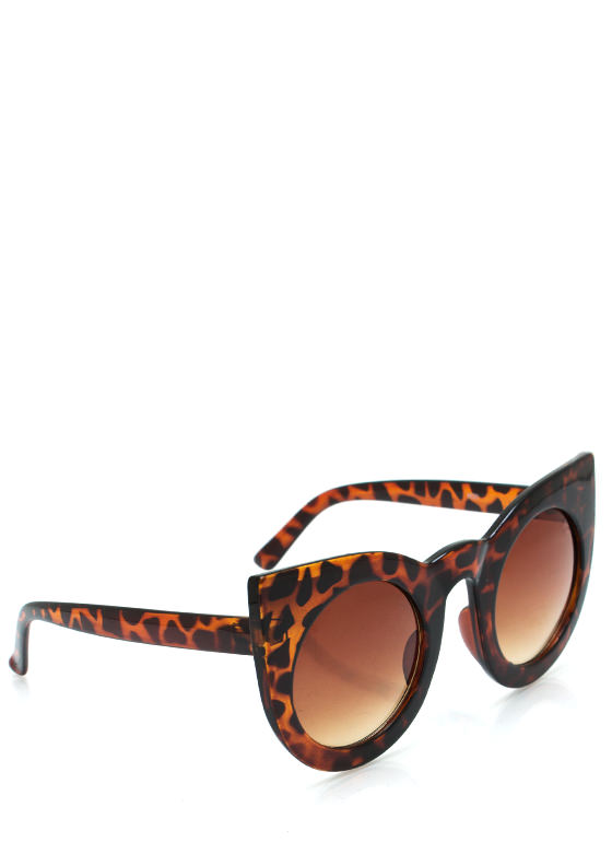 Round Kitty Cat Sunglasses TORTBROWN