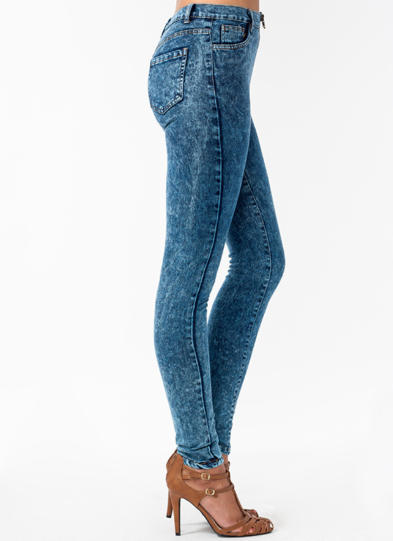 Zipping Around Acid Wash Jeans BLUE