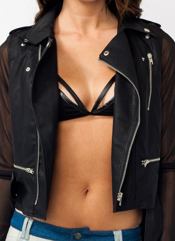 Mesh High Low Biker Jacket BLACK