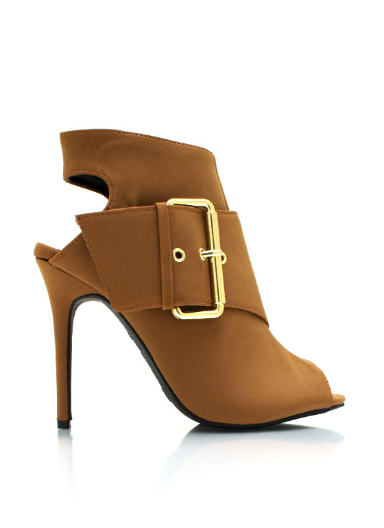 Big Buckle Cannot Lie Heels CHESTNUT