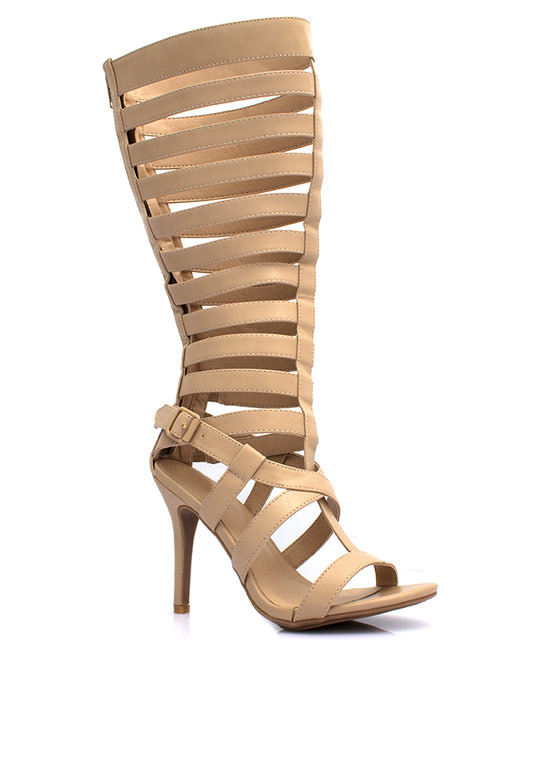 Caged Gladiator Heels NATURAL