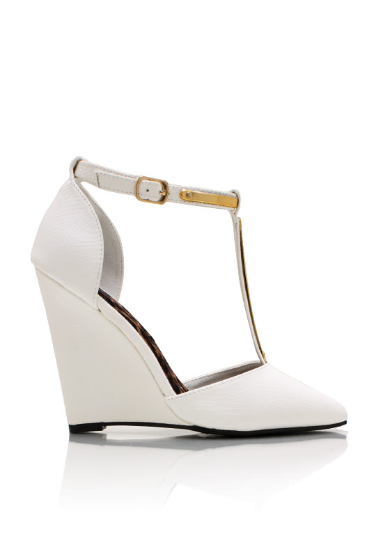 Reptilian Metallic Accent Wedges WHITE