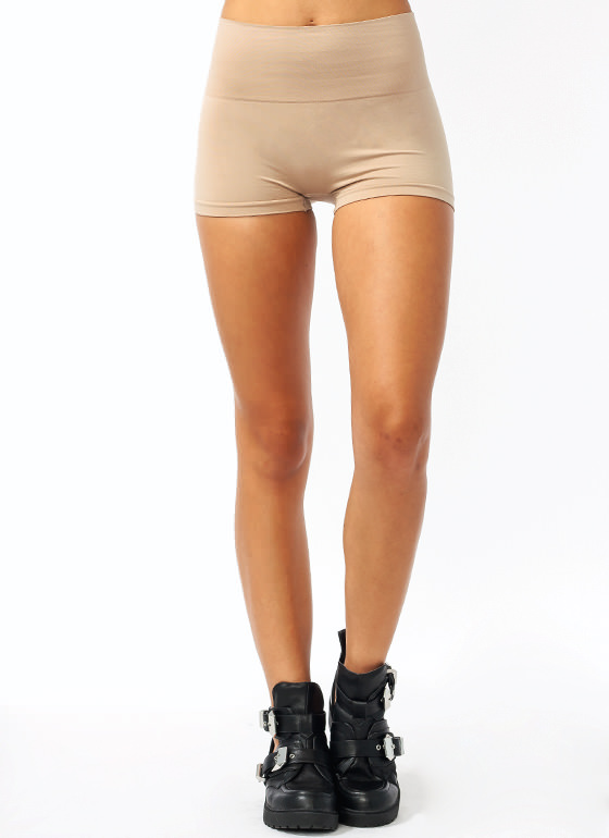 High-Waisted Tummy Control Shorts BEIGE (Final Sale)
