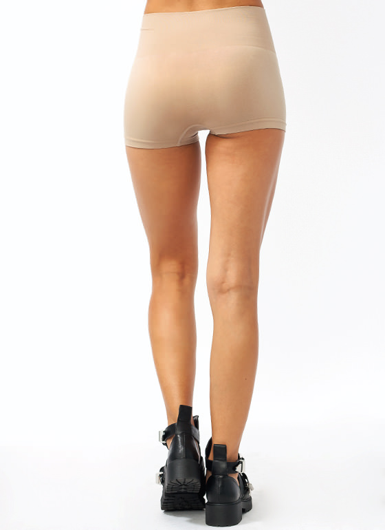 High-Waisted Tummy Control Shorts BEIGE
