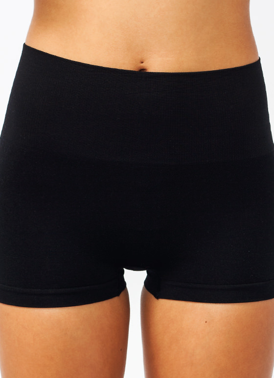 High-Waisted Tummy Control Shorts BLACK