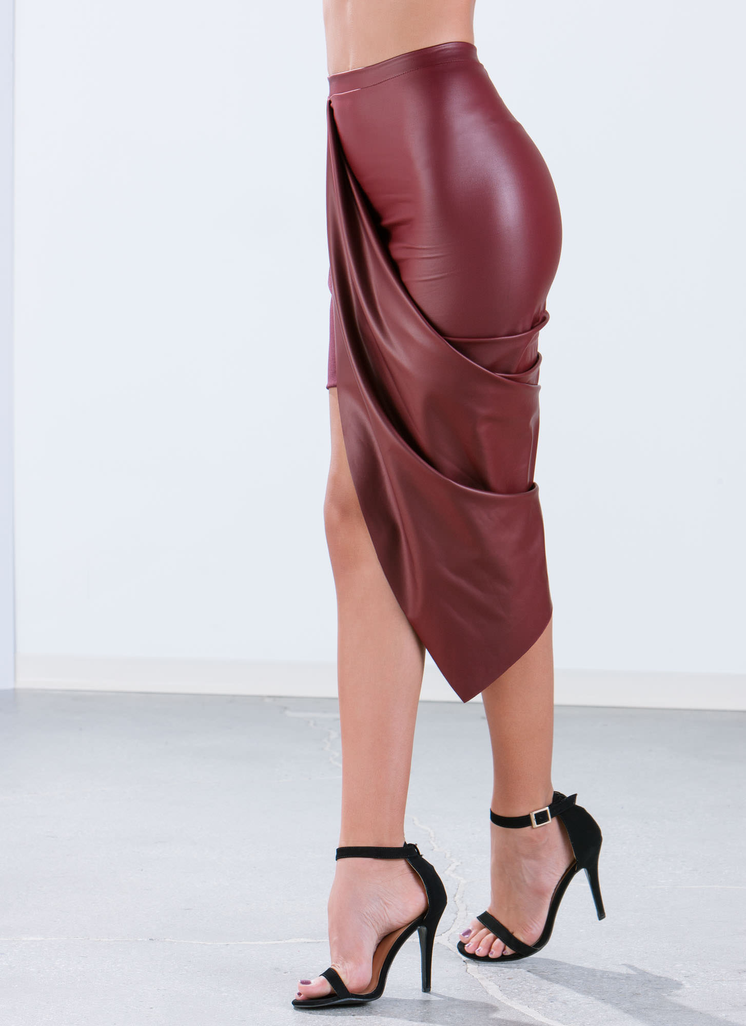 Faux Leather Draped Skirt BURGUNDY (Final Sale)