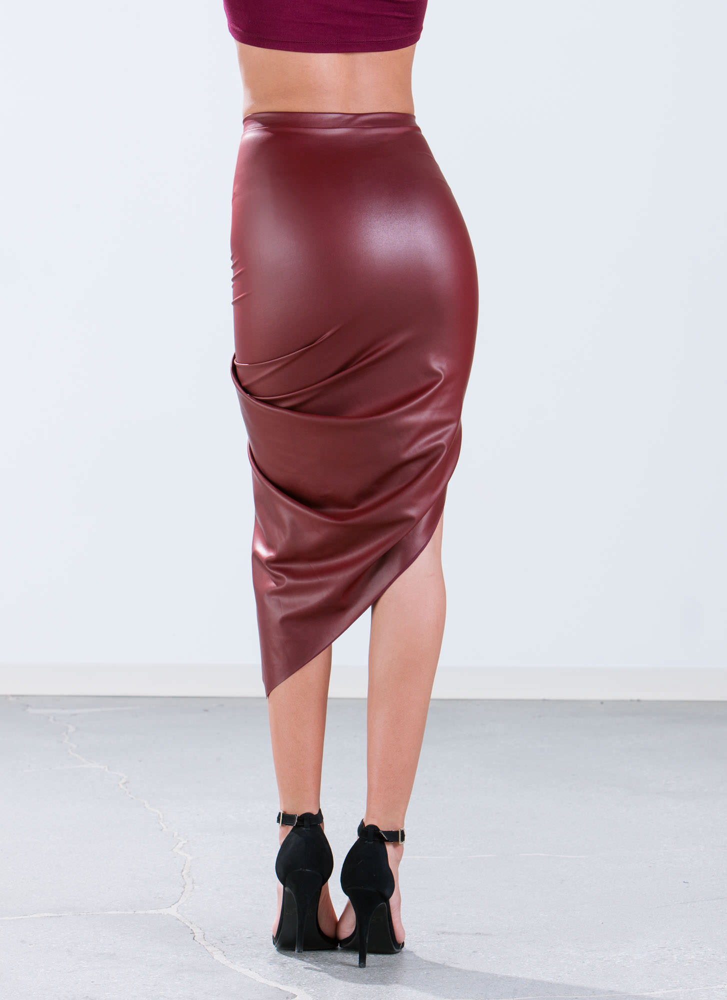 Faux Leather Draped Skirt BURGUNDY