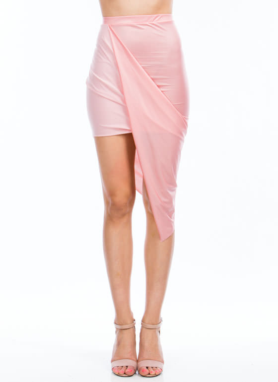 Faux Leather Draped Skirt CORAL