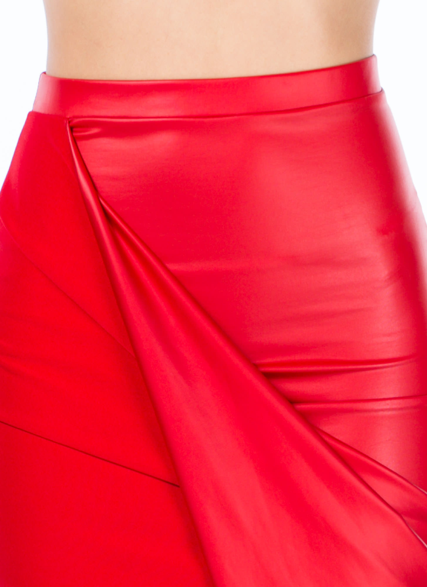Faux Leather Draped Skirt RED