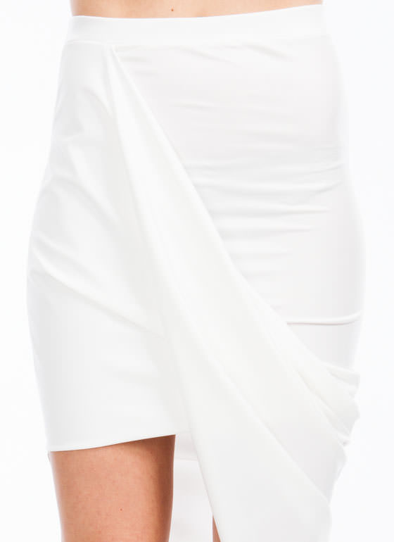 Faux Leather Draped Skirt WHITE