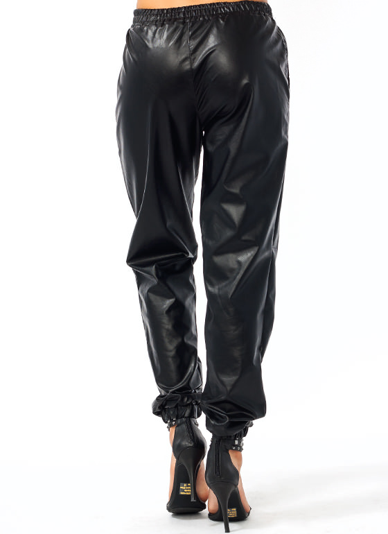 Leather Or Not Track Pants BLACK
