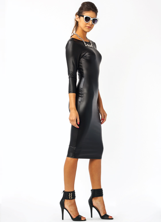 Sleek And Sexy Midi Dress BLACK