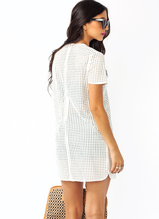 Perfectly Perforated Faux Leather Dress WHITE