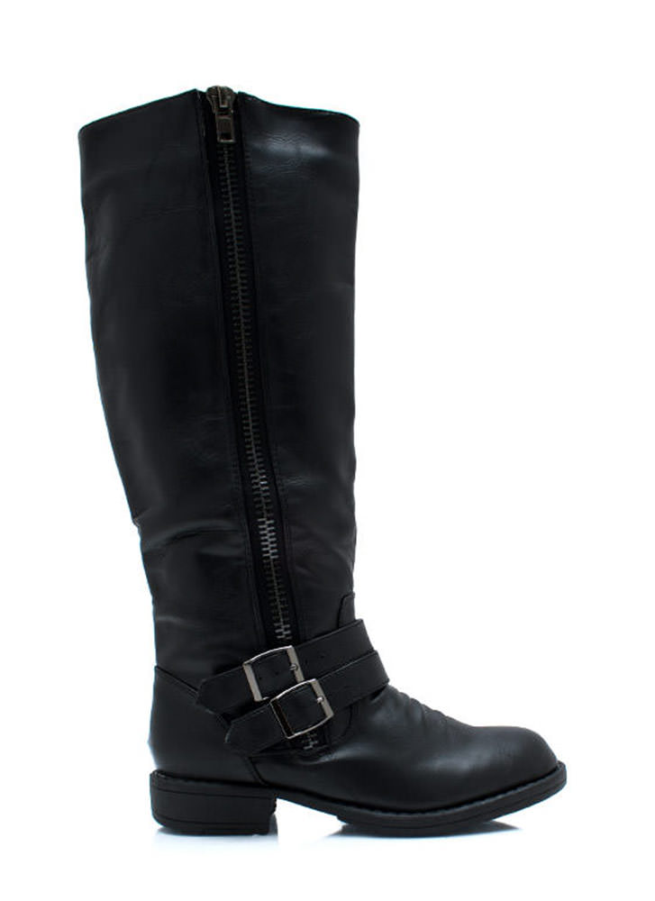 Double Buckle Riding Boots BLACK (Final Sale)