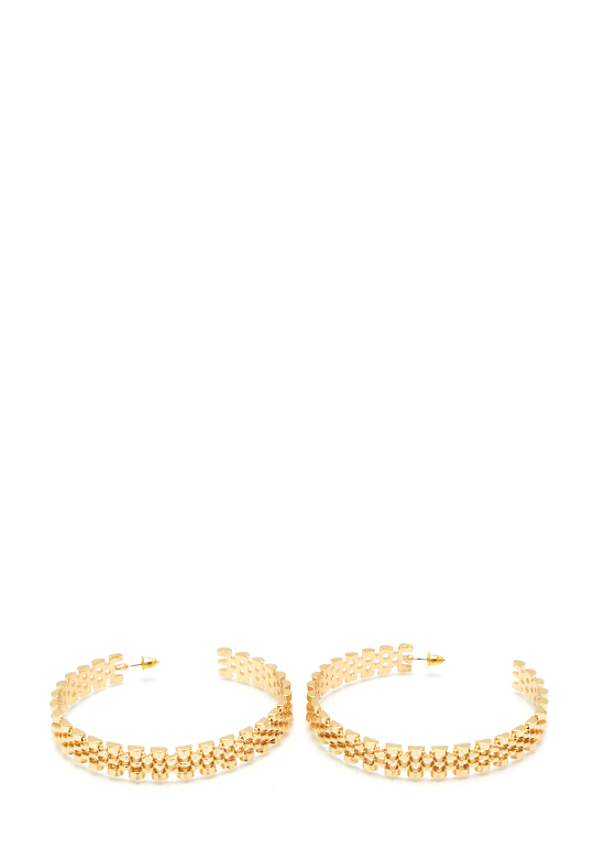 Watch This Link Hoop Earrings GOLD
