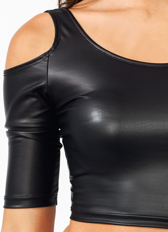 Cold Shoulder Faux Leather Top BLACK