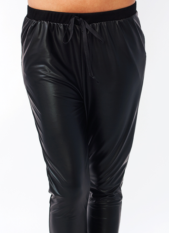 Faux Leather Track Pants BLACK