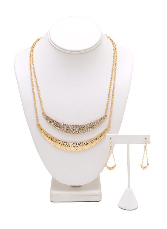 Double Crescent Moon Necklace Set GOLD