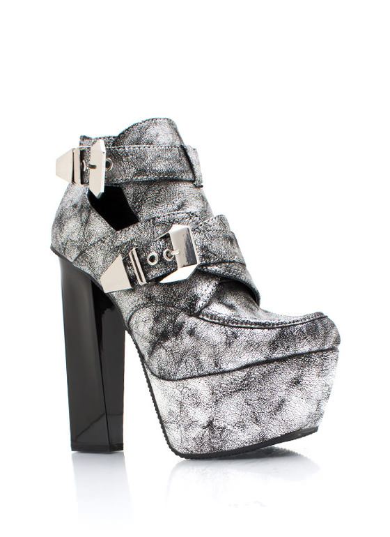 Get Creepy Metallic Booties SILVER